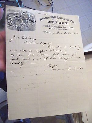 """Collectible Dated 1890 Letter Head """"MORRISON LUMBER CO."""" Chattanooga,Tenn."""