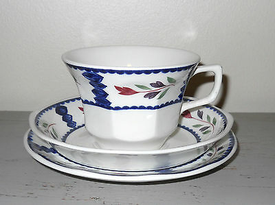 18 pc. Adams English Ironstone Lancaster (6) Dessert Sets Cup Saucer Side Plate