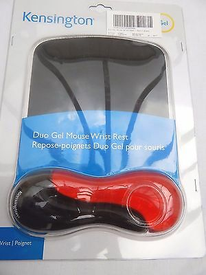 Kensington Duo Gel Keyboard Red & Black Mouse Mat With Wrist Rest - New