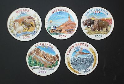 2006 Complete Set Of Colorized State Quarters - mixed Mint (5 Coins)