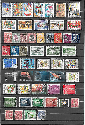 Scandanavia 100 Stamps Used From Late 1800's - Finland, Norway, Denmark,& Sweden
