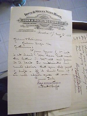 """Collectible Dated 1884 Letter Head """"JOHN A. ROEBLING'S & SONS CO."""" Wire Rope-NJ."""