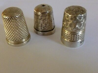 3 vintage silver Thimbles 1 is by Charles Horner