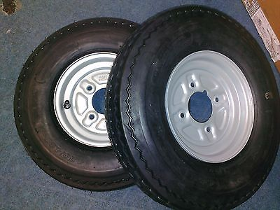"""Pair of Trailer Wheels and Tyres 480/400 x 8"""" 4"""" PCD 4 Ply with grease nipple"""
