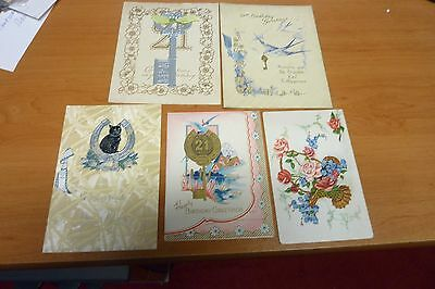 5 - VINTAGE  BIRTHDAY CARDS FROM 1940s - NO ENVELOPES, USED