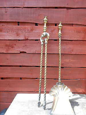 Large Antique,victorian, Fire Tongs And Shovel.barley Twist  Brass. Heavy