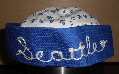 "Vintage ""Seattle"" child's sailor hat. Appears to have never been worn"