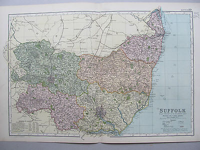 SUFFOLK - ANTIQUE MAP - PUBLISHED  c.1895