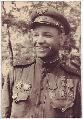 Russia Wwii Heroes Serie Photo: Smiling Air Forces Pilot, Hero Of Soviet Union