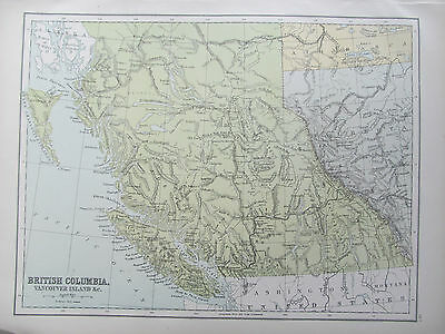CANADA - BRITISH COLUMBIA - ANTIQUE MAP - PUBLISHED c.1895