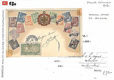 E30 1913 French Colonies SOMALIA Postal Usage ETHIOPIA STAMPS Postcard PHILATELY