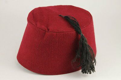 Vintage Red FEZ Ottoman Hat With Tassle
