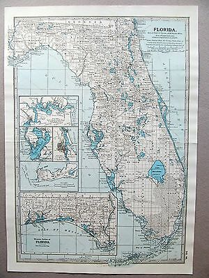 AMERICA - FLORIDA. - ANTIQUE MAP - PUBLISHED  c.1900
