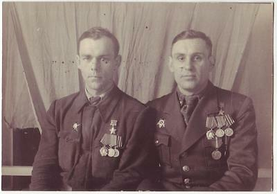 Russian Wwii Press Photo: Two Heroes Of Soviet Union Posing On Camera