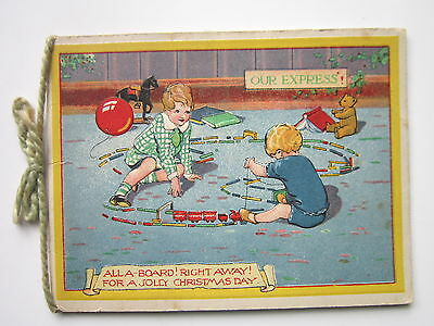 1930s CHRISTMAS CARD - CHILDREN AND RAILWAY SET LOCOMOTIVE - ALL ABOARD