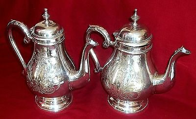 Pair of SILVER PLATED Coffee Pots - Unmarked - Nicely Decorated