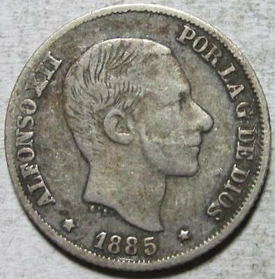 Philippines, 10 Centimos, 1885, Fine+, .0697 Ounce Silver