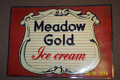 Vintage 1950's Original Meadow Gold Ice Cream Advertising Sign Embossed Tin