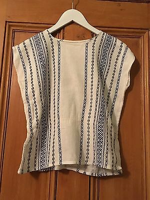 Vintage 70s Cotton Top With Blue & Black Geo Weave Decoration Small