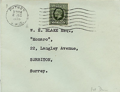 1935 Olive Green 9d KGV FDC Typed address