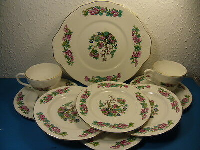 Berkshire English Bone China Hand Painted Floral Cake Plate,6 Side Plates,2 Cups