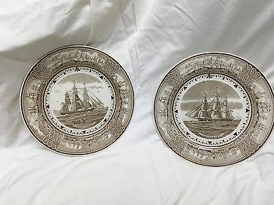2 Wedgwood American Clipper Ship Plates - very collectable