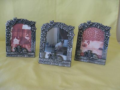 3 Small Pewter Kitty Cat Picture Frames, 2 cats sat on a window sill nice items.