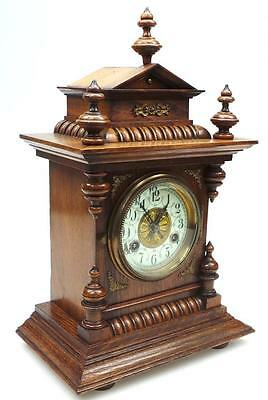 Amazing Antique German Miniature Oak Domed Top 8 Day Carved Bracket Mantel Clock