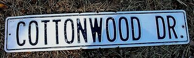 """Vintage White Washed TIN STREET SIGN Chippy Black Letters COTTONWOOD DR 30"""" x 6"""""""