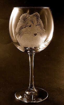 New! Etched Shetland Sheepdog / Sheltie on Elegant Red Wine Glass
