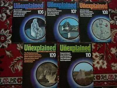 X5 THE UNEXPLAINED MAGAZINES mysteries of mind and space, ISSUES 106 - 110