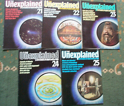 X5 THE UNEXPLAINED MAGAZINES mysteries of mind and space, ISSUES 21 - 25