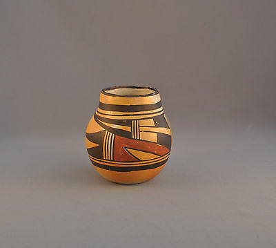 Old Traditional Hopi Indian Pueblo Olla Pot - Polychrome Woven Design