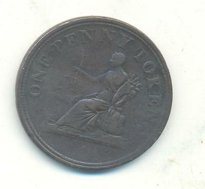 Very Rare.canada 1812 One Penny Token Copper .very Collectable.