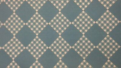 1970s/1960s vintage turquoise blue geometric gingham dress fabric remnant