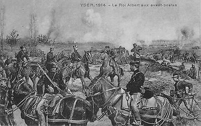 POSTCARD  MILITARY  WWI  YSER  1914  King  Albert with  his  troops