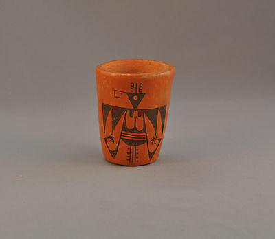 Old Traditional Hopi Indian Pueblo Redware Pot Cup - Rain Bird Design