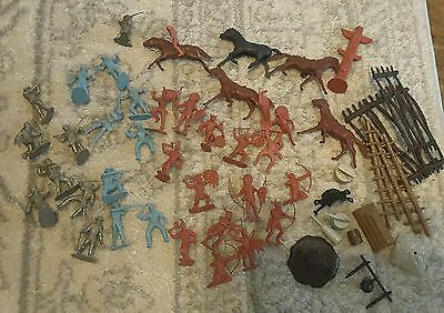 55 Vintage Marx Fort Apache & Custers, Calvary Figures Horse & More