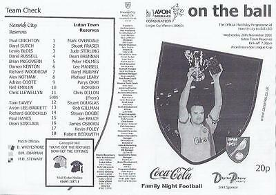 Norwich City Reserves Home v Luton Town Reserves Football Programme 2001/02