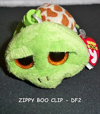 """Ty Beanie Boo Boos Key Clip 3"""" Zippy The Green Turtle Sparkly Eyes *new* In Us"""