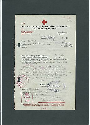 GB Channel Islands 1942 Red Cross Message Form and Censors Stockport to Guernsey