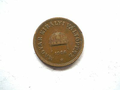Early 2 Filler Coin From Hungary -Dated 1906-Nice