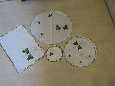 19 piece Table linen set - white with green grape embroidery. Unused