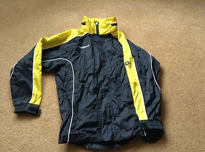 Prostar nylon waterproof/rain jacket black & yellow size XS youth 8-10 yrs