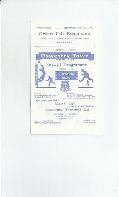 Oswestry Town v Oldham Athletic Cheshire County League Programme 1972/73