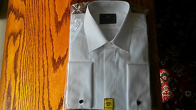 M&S Mens white formal dinner shirt 16.5 collar regular fit easy iron NEW
