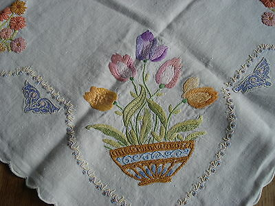 Lovely Vintage Hand Embroidered Tablecloth #1
