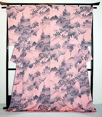Japanese Long Kimono/Coat/Robe Peach/Grey Crepe 'Oriental Scenes' 10-14 Washable