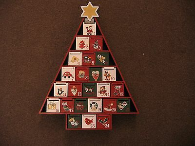 Attractive & Colourful Wooden Christmas Tree Advent Calendar