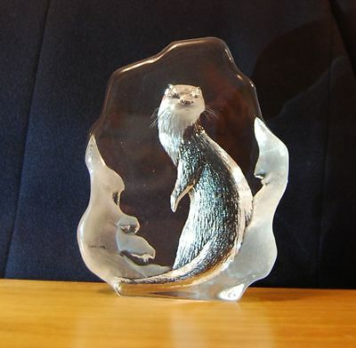 Mats Jonasson Large Otter 3284 Lead Crystal Christmas Xmas Ornament